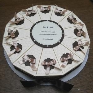 Papír tortadoboz - 12 szeletes, Nászajándék, Emlék & Ajándék, Esküvő, Papírművészet, Papírtorta 12 szeletből. A szeletekbe apró ajándékokat, meglepetéseket, pénzt tehetsz. Akár nászaján..., Meska