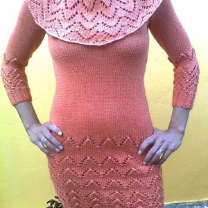 Lazac színű kézzel kötött csipke ruha, Ruha & Divat, Női ruha, Ruha, Kötés, Pamut fonalból kézi kötéssel készült egyedi tervezés alapján, ez a lazac színű csipke ruha.A nyaka v..., Meska