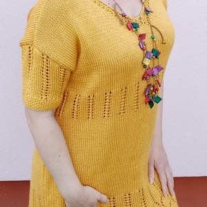 Kézzel kötött napsárga maxi csipke ruha. , Ruha & Divat, Női ruha, Kötés, Napsárga hosszú csipke ruha XL méretben.\nRendelhető más színben és méretben is. \nElkészítési idő mér..., Meska