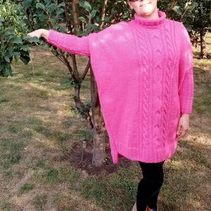 Kézzel kötött rózsaszín ruha, Ruha & Divat, Női ruha, Ruha, Kötés, Kézi kötéssel, egyedi tervezés alapján készült a fotón látható ruha.  A ruha mérete ,, XL,, az ár is..., Meska