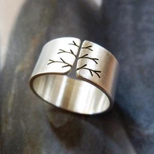 Fa ezüst gyűrű (10mm széles, matt) - Meska.hu