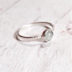 Akvamarin ezüst gyűrű , Szoliter gyűrű, Gyűrű, Ékszer, Ékszerkészítés, Ötvös, Ezt a gyűrűt már elvitték, ha hasonlót szeretnél, belső üzenetben egyeztessünk előtte.\n\nSzép kerek c..., Meska