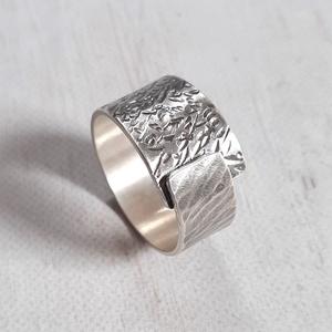 Rusztikus kalapált ezüst gyűrű , Ékszer, Gyűrű, Kerek gyűrű, Fémmegmunkálás, Ötvös, Meska