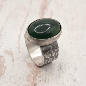 Zöld achát ezüst gyűrű  - Meska.hu