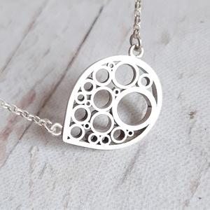 Modern ezüst csepp nyaklánc, Ékszer, Nyaklánc, Medálos nyaklánc, Ékszerkészítés, Ötvös, Meska