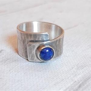 Lápisz lazuli ezüst gyűrű , Ékszer, Gyűrű, Statement gyűrű, Ékszerkészítés, Ötvös, Meska