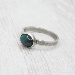 Krizokolla ezüst gyűrű, Ékszer, Gyűrű, Szoliter gyűrű, Fémmegmunkálás, Ötvös, Meska
