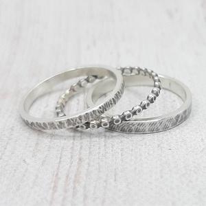 Ezüst gyűrű szett, 3 karika, Ékszer, Gyűrű, Vékony gyűrű, Ékszerkészítés, Ötvös, Három gyűrűből álló szett, melynek minden tagja más mintájú.\nA gyűrűk alapja ezüstből készült, nagyo..., Meska