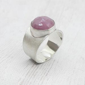 Pink zafír ezüst gyűrű , Ékszer, Gyűrű, Statement gyűrű, Ékszerkészítés, Ötvös, Meska