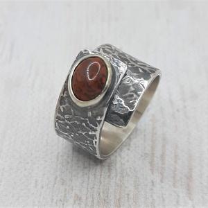 Jáspis ezüst gyűrű, Ékszer, Gyűrű, Statement gyűrű, Fémmegmunkálás, Ötvös, Meska