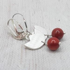 Vörös korall tulipán ezüst fülbevaló  - Meska.hu