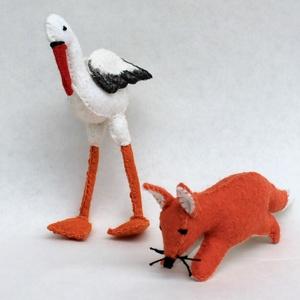 Róka és a gólya mesecsomag, Játék & Gyerek, Plüssállat & Játékfigura, Róka, Nemezelés, Varrás, A játékfigura természetes alapanyagokból, idea filc anyagból készül, kézzel varrva, kártolt gyapjúva..., Meska