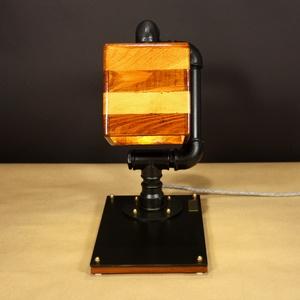 Campanula, asztali steampunk hangulatlámpa matt fekete csövekből, 2 színnel pácolt fa burával (Kreativalampa) - Meska.hu