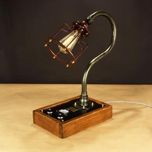 Akció!! Bendlight, fényerőszabályzós, voltmérős,  1 izzós asztali csőlámpa., Otthon & lakás, Lakberendezés, Lámpa, Férfiaknak, Steampunk ajándékok, Fémmegmunkálás, Famegmunkálás, A lámpa érdekessége, hogy ha teljesen feltekered a fényerőszabályzót használhatod olvasáshoz. Egy cs..., Meska