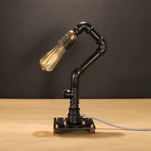 INDUSZTRIÁLIS ASZTALI LÁMPA, STEAMPUNK – 34, Otthon & Lakás, Lámpa, Asztali lámpa, Fémmegmunkálás, Famegmunkálás, Kisméretű indusztriális asztali lámpa fekete színben.\n\nHa tetszik az idusztriális vonal egy kis stea..., Meska