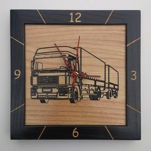 Kőrisfából készült falióra - gravírozott kamion mintával, Otthon & Lakás, Dekoráció, Falióra & óra, Famegmunkálás, A termék jellemzői:\n\nKőrisfából készült falióra - gravírozott kamion mintával:\n\nHosszúság:        25..., Meska