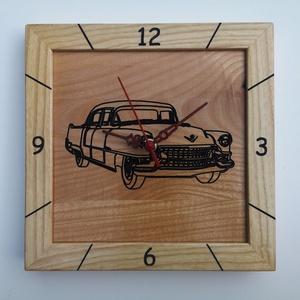 Kőrisfából készült falióra - gravírozott volga autó mintával, Otthon & Lakás, Dekoráció, Falióra & óra, Famegmunkálás, A termék jellemzői:\n\nKőrisfából készült falióra - gravírozott volga autó mintával:\n\nHosszúság:      ..., Meska