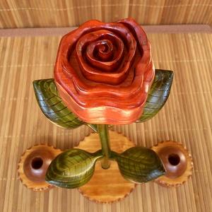 Rózsa - asztali írószer tartó, Könyv, Papír írószer, Otthon & Lakás, Famegmunkálás, Mindenmás, Kreatívfamunkák által tervezett és kivitelezett egyedi asztali dekorációs tárgy, amely egy rózsa meg..., Meska