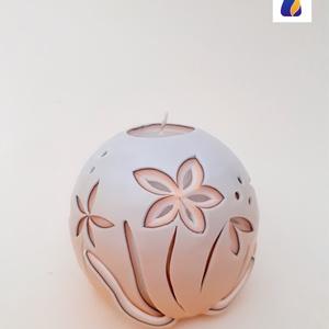 Faragott gyertya - Gömb gyertya kicsi BARACK, Otthon & Lakás, Dekoráció, Gyertya & Gyertyatartó, Gyertya-, mécseskészítés, Súly: ~350 g\nMagasság: ~9 cm\nTalpátmérő: ~5 cm\n\nKülönböző színvilágú, méretű és formájú gyertyák köz..., Meska
