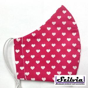 Kiskamasz szívecskés mintás - Egyedi többször használatos szájmaszk - Mosható maszk, Táska, Divat & Szépség, Szépség(ápolás), Maszk, szájmaszk, Varrás, Egyedi  mintás kiskamasz szájmaszk. A szabása miatt jól illeszkedik az archoz kényelmes viselet.\nTer..., Meska