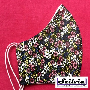 Női fekete alapon színes virágos mintás - Egyedi többször használatos szájmaszk - Mosható maszk, Táska, Divat & Szépség, Szépség(ápolás), Maszk, szájmaszk, Varrás, Egyedi  mintás női szájmaszk. A szabása miatt jól illeszkedik az archoz kényelmes viselet.\nTermészet..., Meska