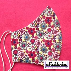 Női  pink virágos mintás - Egyedi többször használatos szájmaszk - Mosható maszk, Táska, Divat & Szépség, Szépség(ápolás), Maszk, szájmaszk, Varrás, Egyedi  mintás női szájmaszk. A szabása miatt jól illeszkedik az archoz kényelmes viselet.\nTermészet..., Meska