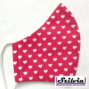 Női pink szív mintás - Egyedi többször használatos szájmaszk - Mosható maszk, Táska, Divat & Szépség, Szépség(ápolás), Maszk, szájmaszk, Varrás, Egyedi  mintás női szájmaszk. A szabása miatt jól illeszkedik az archoz kényelmes viselet.\nTermészet..., Meska