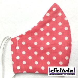 Női mályva pöttyös mintás - Egyedi többször használatos szájmaszk - Mosható maszk, Táska, Divat & Szépség, Szépség(ápolás), Maszk, szájmaszk, Varrás, Egyedi  mintás női szájmaszk. A szabása miatt jól illeszkedik az archoz kényelmes viselet.\nTermészet..., Meska