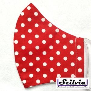 Női  piros pöttyös - Egyedi többször használatos szájmaszk - Mosható maszk, Táska, Divat & Szépség, Szépség(ápolás), Maszk, szájmaszk, Varrás, Egyedi  mintás női szájmaszk. A szabása miatt jól illeszkedik az archoz kényelmes viselet.\nTermészet..., Meska
