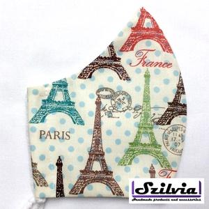 Női Paris mintás - Egyedi többször használatos szájmaszk - Mosható maszk, Táska, Divat & Szépség, Szépség(ápolás), Maszk, szájmaszk, Varrás, Egyedi  mintás női szájmaszk. A szabása miatt jól illeszkedik az archoz kényelmes viselet.\nTermészet..., Meska
