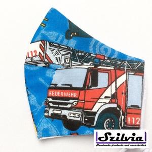 Ovis gyerek tűzoltóautós maszk - Egyedi többször használatos szájmaszk - Mosható maszk - Meska.hu