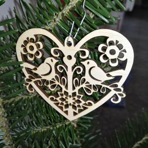 karácsonyfadísz004, Dekoráció, Otthon & lakás, Ünnepi dekoráció, Karácsony, Karácsonyfadísz, Famegmunkálás, 3 mm vastag rétegelt fából készült függeszthető, igény szerint színre festhető vagy fújható, 8 cm sz..., Meska