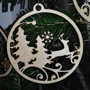 karácsonyfadísz031, Dekoráció, Otthon & lakás, Ünnepi dekoráció, Karácsony, Karácsonyfadísz, Famegmunkálás, 3 mm vastag rétegelt fából készült függeszthető, igény szerint színre festhető vagy fújható, 9 cm át..., Meska
