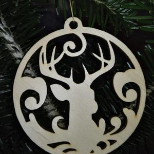 karácsonyfadísz032, Dekoráció, Otthon & lakás, Ünnepi dekoráció, Karácsony, Karácsonyfadísz, Famegmunkálás, 3 mm vastag rétegelt fából készült függeszthető, igény szerint színre festhető vagy fújható, 9 cm át..., Meska