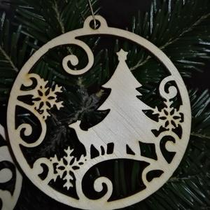karácsonyfadísz034, Dekoráció, Otthon & lakás, Ünnepi dekoráció, Karácsony, Karácsonyfadísz, Famegmunkálás, 3 mm vastag rétegelt fából készült függeszthető, igény szerint színre festhető vagy fújható, 9 cm át..., Meska