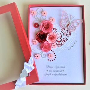 Képeslap díszdobozban egyedi névvel szöveggel születésnapra névnapra  ballagásra évforduló tanár szív lepke rózsa piros, Ballagás, Ünnepi dekoráció, Dekoráció, Otthon & lakás, Anyák napja, Naptár, képeslap, album, Papírművészet, Egyedi képeslap díszdobozban születés- vagy névnapra, ballagásra, pedagógusoknak, szerelmeseknek, év..., Meska