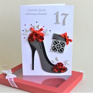 Képeslap díszdobozban egyedi névvel szöveggel születésnapra névnapra ballagásra évforduló piros cipő rózsa lepke virág, Ballagás, Ünnepi dekoráció, Dekoráció, Otthon & lakás, Anyák napja, Naptár, képeslap, album, Papírművészet, Egyedi képeslap díszdobozban születés- vagy névnapra, ballagásra, pedagógusoknak,  évfordulóra.\n\nNév..., Meska