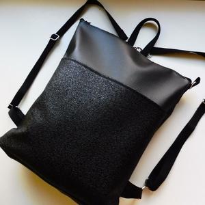 Fekete csillogós hátizsák, válltáska, Táska, Divat & Szépség, Táska, Hátizsák, Válltáska, oldaltáska, Különleges fekete anyagból készült hátizsák ami válltáskaként is hordható a pántok végén található k..., Meska
