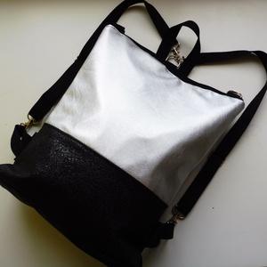 Ezüst hátizsák és válltáska, Táska, Divat & Szépség, Táska, Válltáska, oldaltáska, Hátizsák, Laptoptáska, Varrás, Ezüst és különleges fekete mintás táska. A belseje fekete vászonból készült, egy zseb található benn..., Meska