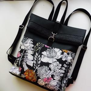 Roll up virág mintás táska, Táska, Divat & Szépség, Táska, Hátizsák, Laptoptáska, Szatyor, Varrás, Virágos mintás anyagból és textilbőrből készült roll upos hátizsák. A bélése fekete vászonból készül..., Meska