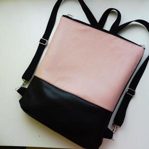 Halvány rózsaszín táska, Táska, Divat & Szépség, Táska, Hátizsák, Válltáska, oldaltáska, Laptoptáska, Varrás, Halvány rózsaszín és fekete táska. A külseje műbőr anyagokból készült. A belseje fekete vászonból ké..., Meska