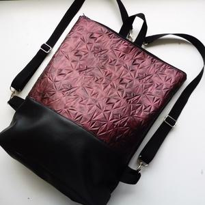 Bordó színű táska, Táska, Divat & Szépség, Táska, Hátizsák, Laptoptáska, Válltáska, oldaltáska, Varrás, Bordós lila különleges műbőrből készült táska, amit kétféleképpen lehet viselni: válltáska és hátizs..., Meska