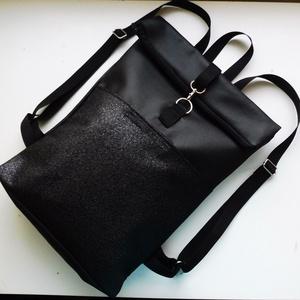 Fekete első zsebes roll up hátizsák, Táska, Divat & Szépség, Táska, Laptoptáska, Első zsebes fekete roll up hátizsák. Az első zseb tépőzárral záródik. A pántok sávolyhevederből kész..., Meska
