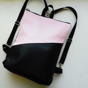 Halvány rózsaszín - fekete táska, Táska, Divat & Szépség, Táska, Válltáska, oldaltáska, Hátizsák, Varrás, Fekete és halvány rózsaszín műbőrből készült hátizsák, ami a csatok segítségével válltáskaként is ho..., Meska