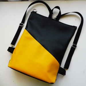 Fekete-sárga táska, Táska, Divat & Szépség, Táska, Hátizsák, Válltáska, oldaltáska, Laptoptáska, Varrás, Sárga és fekete textilbőrből készült táska. A belseje fekete vászonból készült, egy zseb található b..., Meska