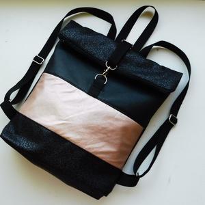 Rosegold roll up hátizsák, Táska, Divat & Szépség, Táska, Hátizsák, Laptoptáska, Varrás, Ezüst és különleges csillogó fekete anyagból készül roll up hátizsák. pántok sávolyhevederből készül..., Meska