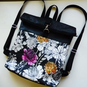 Roll up virág mintás táska, Táska, Divat & Szépség, Táska, Hátizsák, Laptoptáska, Szatyor, Virágos mintás anyagból és textilbőrből készült roll upos hátizsák. A bélése fekete vászonból készül..., Meska