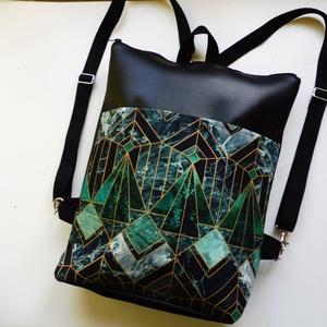 Art deco mintás táska, Táska & Tok, Hátizsák, Hátizsák, Varrás, Art deco mintás vászonból és fekete műbőrből készült hátizsák, amely válltáska és hátizsákként is ho..., Meska