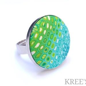"""COLOR CROCCO almazöld és kék,  ékszergyurma gyűrű, Statement gyűrű, Gyűrű, Ékszer, Ékszerkészítés, Süthető gyurmából készítettem ezt az egyedi, \""""retro\"""" mintás gyűrűt (a minta nem festett!).\nA gyűrű k..., Meska"""