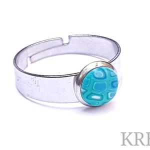 """COLOR CROCCO - Egy csepp tenger, Szoliter gyűrű, Gyűrű, Ékszer, Ékszerkészítés, Süthető gyurmából készítettem ezt az egyedi, \""""retro\"""" mintás gyűrűt (a minta nem festett!).\nA gyűrű m..., Meska"""